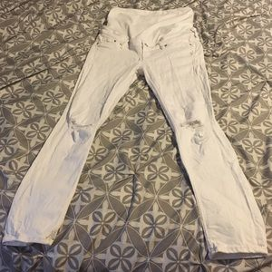 NWOT H&M Mama White Distressed Maternity Jeans